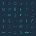 Set of thirty six car parts icons Royalty Free Stock Photo