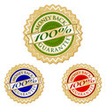Set of Three 100% Money Back Guarantee Emblem Seal Stock Photography