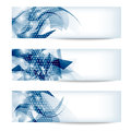 Set three blue abstract banner Royalty Free Stock Photo