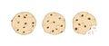 Set of three cartoon cute cookies isolated on white backg