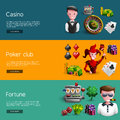 Set Of Three Casino Banners Royalty Free Stock Photo