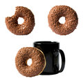 Set of three compositions of chocolate donut and coffee mug isolated on white background Royalty Free Stock Photo