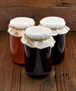 Set of three conserve jars Royalty Free Stock Photography