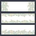Set of three floral banners with ornament Royalty Free Stock Photos