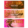 Set of three Gift voucher templates. Abstract design. Vector.