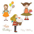 Set of three girls birthday party isolated on white background illustration Stock Photography