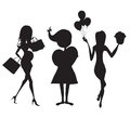 Set of three girls silhouettes at birthday party isolated on whi white background illustration Stock Photo