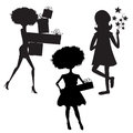 Set of three girls silhouettes at birthday party isolated on whi white background illustration Stock Image
