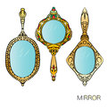 Set of three gold vintage Hand Mirror. Royalty Free Stock Photo
