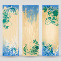 Set of three grunge floral web banners Royalty Free Stock Photo