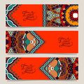 Set of three horizontal banners with decorative ornamental flowers floral pattern in oriental style paisley background vector Stock Photos
