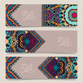 Set of three horizontal banners with decorative ornamental flowers floral pattern in oriental style paisley background vector Royalty Free Stock Photo