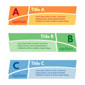 Set of three horizontal colorful options banners. Step by step infographic design template.