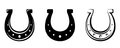 Set of three horseshoes. Vector black silhouettes.