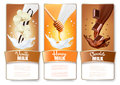 Set of three labels of chocolate, honey and vanilla milk splashe