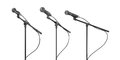 Set of three microphones with cable on the stand Royalty Free Stock Photo