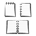 Set of three notebooks black silhouettes on a white background Royalty Free Stock Photo