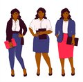 Set of three office look for a attractive african american plus size woman model. Jeans, blouse, pencil skirt, cardigan Royalty Free Stock Photo