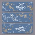Set of three original wedding banners based on blooming plum branch sketch on blue and brush calligraphy.