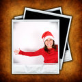 Set of three photo frames with christmas images Stock Photos