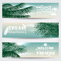 Set of three retro summer web banners vector banner illustrations with text ocean palm leaves and beach Stock Photography