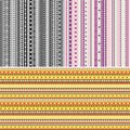 Set of three ribbon seamless patterns. Royalty Free Stock Photo
