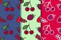 Set of three seamless patterns with different berries in one style. Colorful illustration, eps10