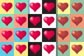 Set of three seamless patterns with hearts, colorful illustration. Valentines Day holidays typography.