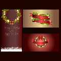 Set of three separated christmas and new years banners Royalty Free Stock Photo