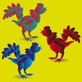 Set of three toy rooster Royalty Free Stock Photo