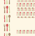 Set of three utensils seamless patterns and vector silverware borders backgrounds Royalty Free Stock Photos