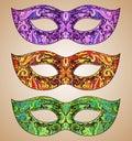 Set of three vector ornate floral venetian carnival masks Royalty Free Stock Photo