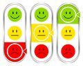 Set Of Three Vertical Barometer With Faces Mood Filled Color And Silver
