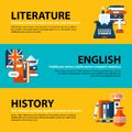 Set of three web banners about education and college subjects in flat illustration style. Literature, English and history. Royalty Free Stock Photo