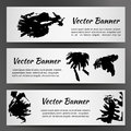 Set of Three White Banners with Inkblots Royalty Free Stock Photo