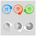 Set of timers color with arrows Stock Photo
