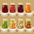 Set with tinned fruits berries vegetables on vintage shelf vector illustration Stock Photo