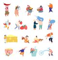 Set of Tiny Characters in Different Situations Sell Seasoning and Spices, Decorating Pastry and Cakes with Cream
