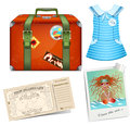 Set to travel female road suitcase Royalty Free Stock Photos