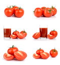 Set of tomatoes isolated on white studio shots Stock Photography