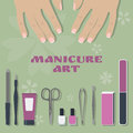 Set of tools and accessories for manicure and two female palms