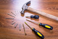 Set of tools for home renovation over a wooden panel Stock Photo