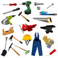 Set of tools illustration with white background Stock Photo