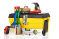 Set of tools and instruments in toolbox on white Stock Photos