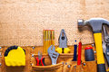 Set of tools in toolbelt tape measure nippers Royalty Free Stock Photo