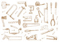 Set of tools vector vintage Stock Image