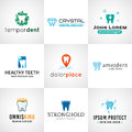 Set of tooth logos. Oral care symbols collection