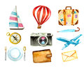 Set of tourism icons. watercolor hand drawn vector illustration