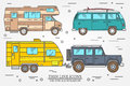 Set of Tourist bus, SUV, trailer, jeep, RV camper trailer, Traveler truck. Summer trip family travel concept. Thin line icon.