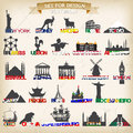 Set of tourist symbols vector illustration symbol european cities Royalty Free Stock Photography